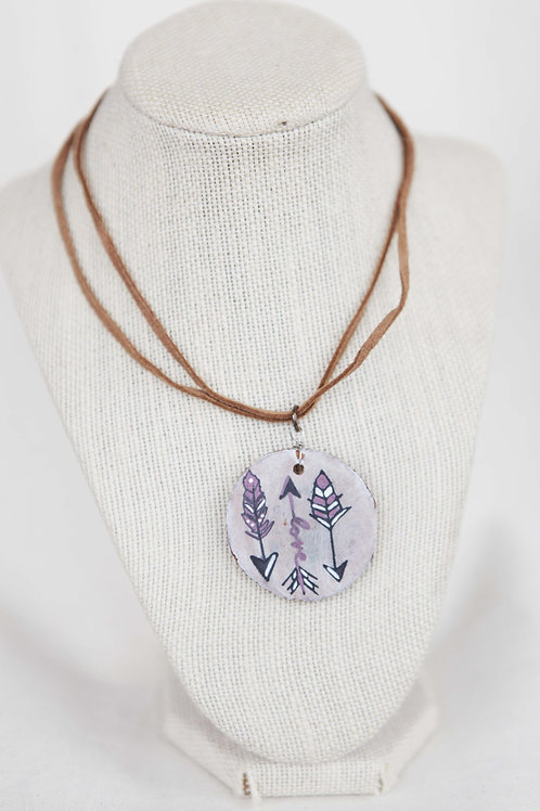 Handpainted Arrows on Wood Round Necklace