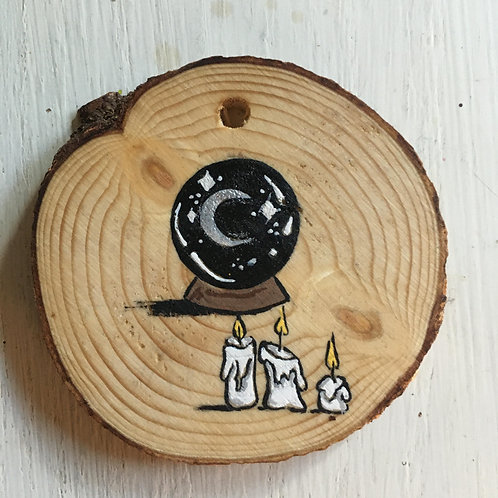 Moon Crystal Ball Wood Round