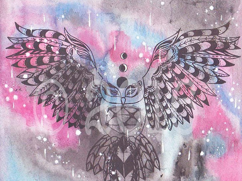 Nebula Owl Art Print