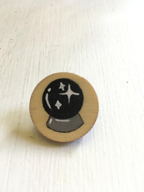 Black Crystal Ball Pin