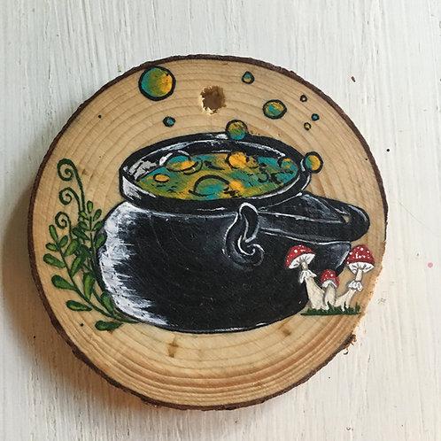 Bubbling Cauldron Wood Round Art