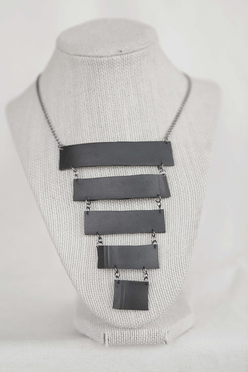 Upcycled Rubber Rectangle Strip Necklace
