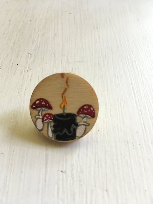 Black Candle & Amanita Mushroom Pin