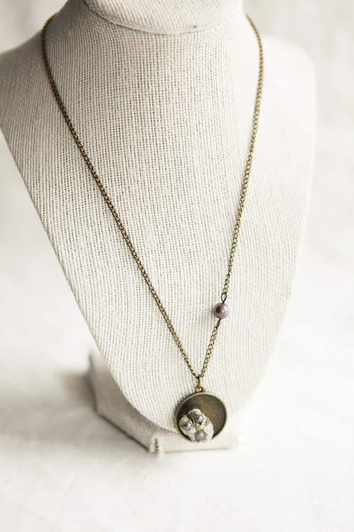 Real Barnacel & Purple Pearl Pendant Necklace