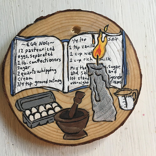 Eggnog Recipe Wood Round Art