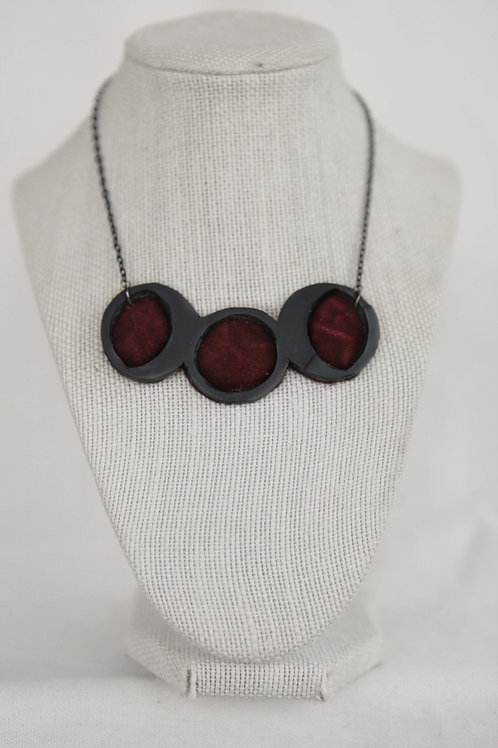 Triple Moon Phase Upcycled Rubber Necklace
