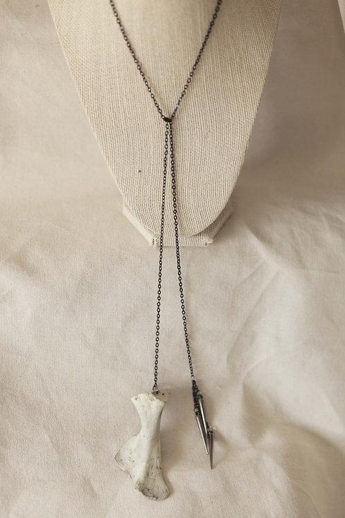 Deer Scapula & Spike Tie Necklace