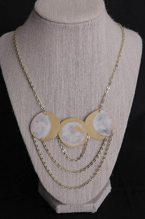 Hand-Painted Moon Phase Necklace