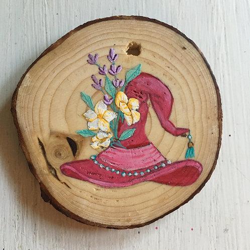 Pink Witch's Hat Wood Round Art