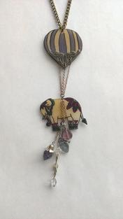 Hot Air Ballon Elephant Necklace