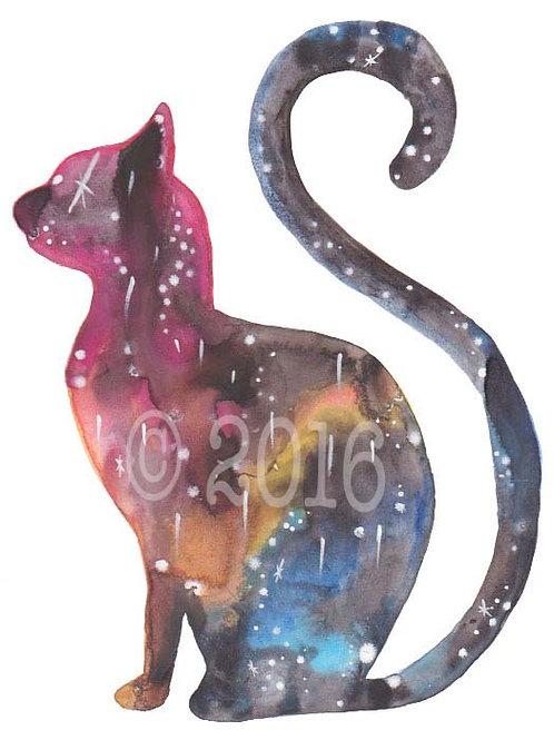 Cat Silhouette Nebula Art Print