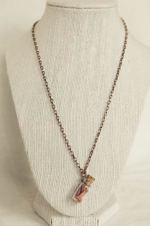 Rose Petals in Tiny Bottle Pendant Necklace