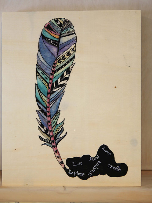 Feather Quill Art Print on Wood Canvas