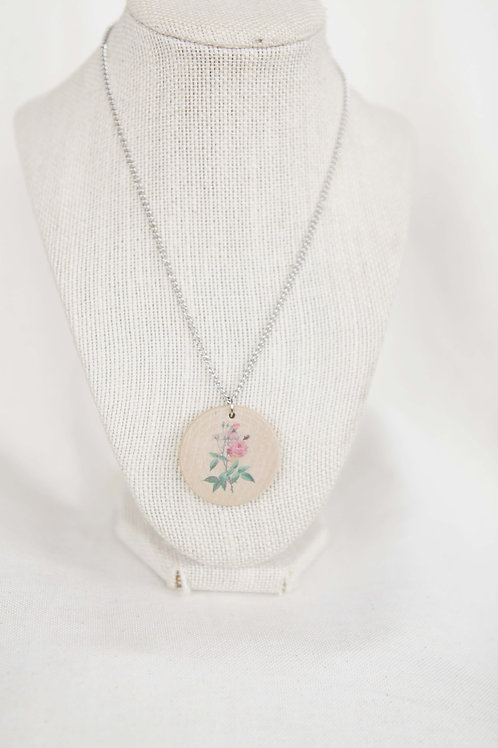 Rose Print Wood Round Pendant Necklace