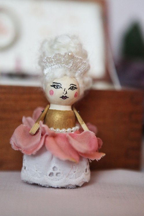 Rose Queen Miniature Wood Doll