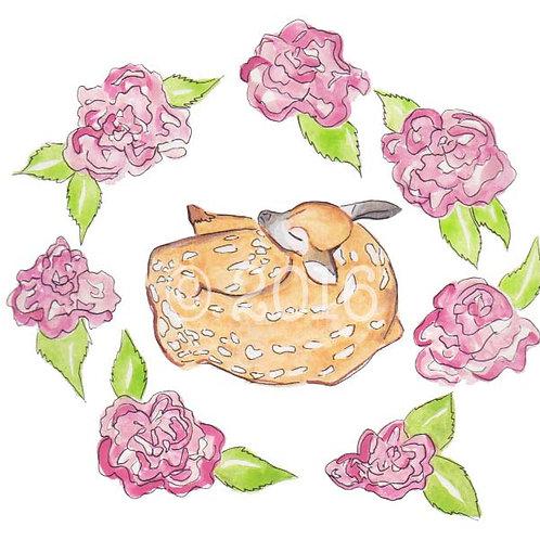 Fawn & Rose Art Print