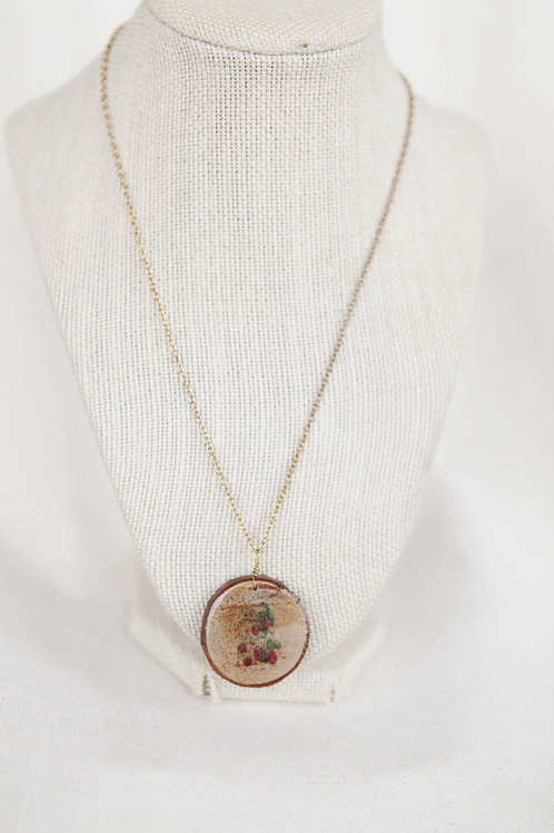 Raspberry Print Wood Round Pendant Necklace
