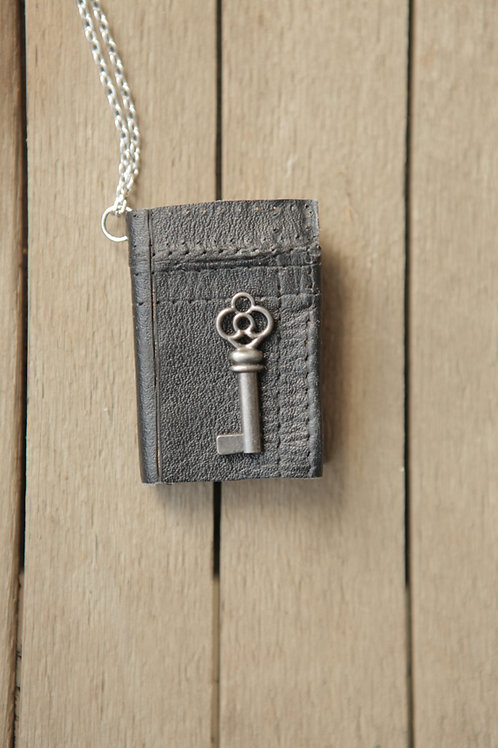 Miniature Book Necklace - Black Leather with Key