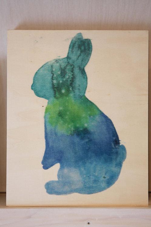 Bunny Art Print on Wood Canvas