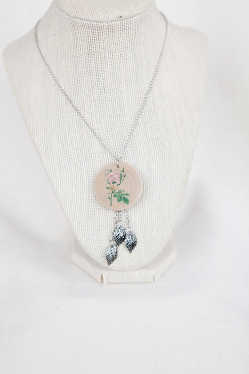 Rose Print Wood Round Pendant & Silver Leaf Necklace