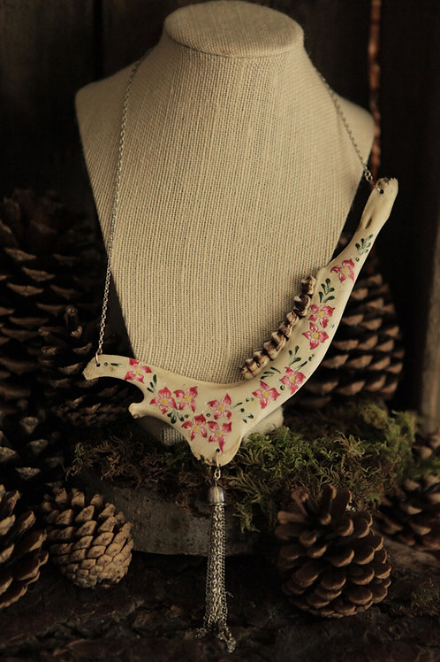 Deer Jaw Bone with Hand-painted Flowers Necklace