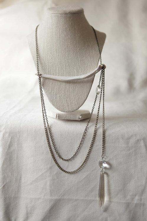 Deer Rib Bone & Vintage Glass Pendant Necklace