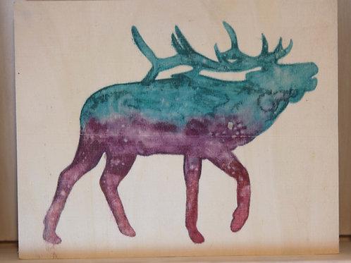 Elk Art Print on Wood Canvas