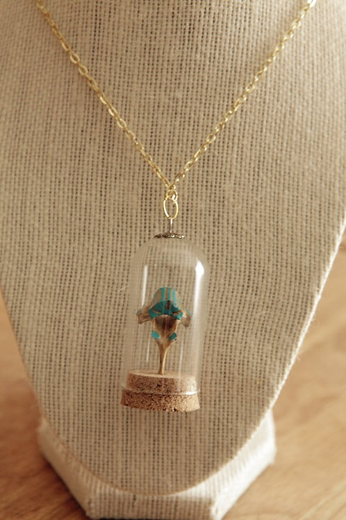 Hand-painted Raccoon Vertebrae in Glass Dome Necklace