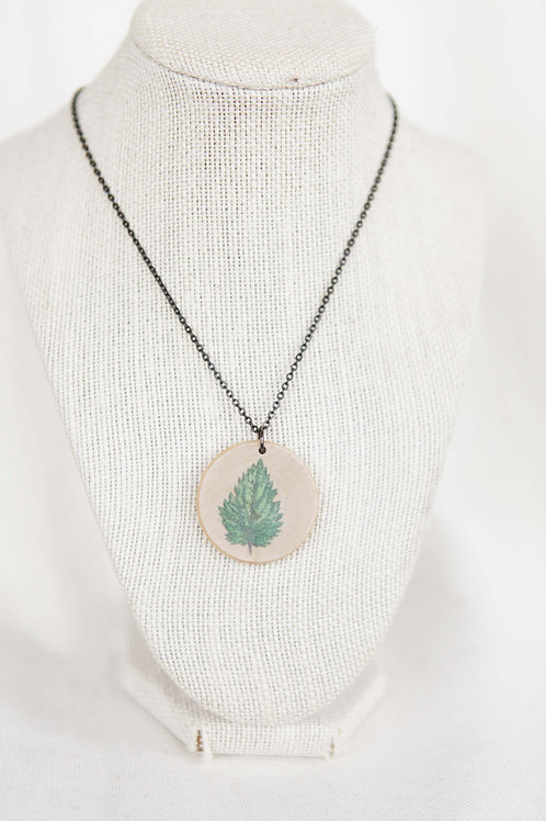 Nettle Leaf Print Wood Round Pendant Necklace