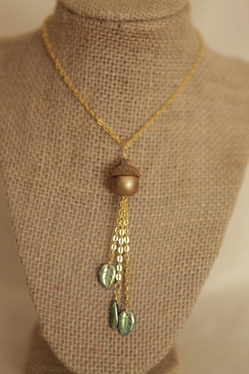 Wood Acorn Necklace