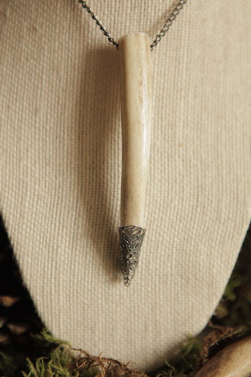 Deer Antler Tip with Metal Adornment Necklace