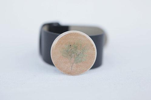 Cedar Sprig Wood Round Leather Cuff