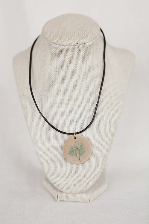 Cedar Branch Print Wood Round Necklace
