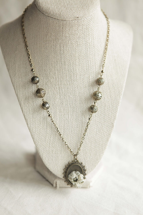 Real Barnacle & Pearl Pendant Necklace