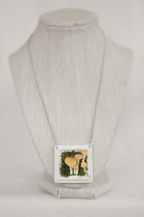 Golden Trumpet Mushroom & Picture Frame Necklace