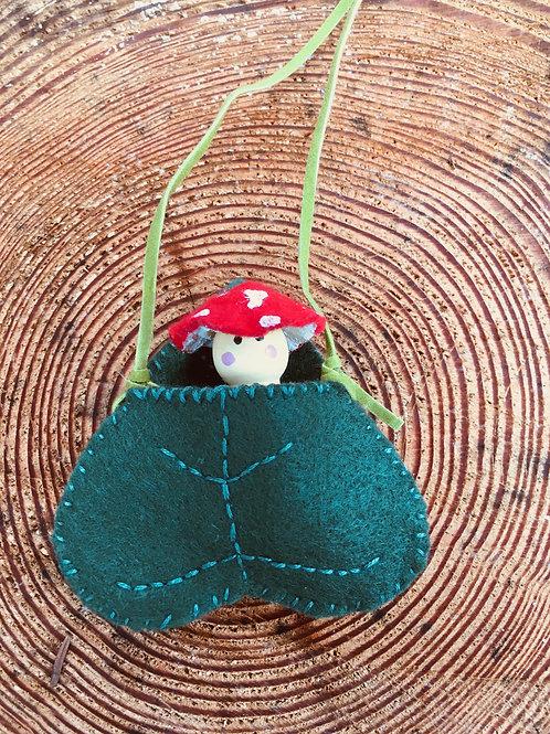 Amanita Spirit Doll- Eastern Redbud Leaf Necklace