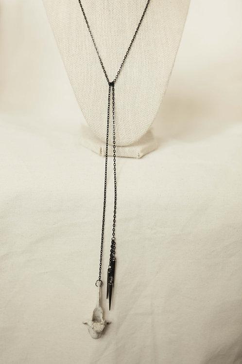 Deer Vertebrae & Spike Tie Necklace
