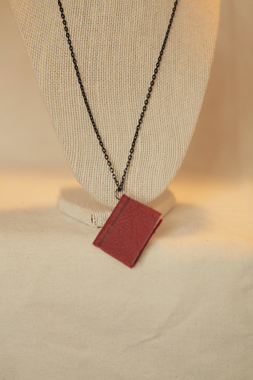 Miniature Book Necklace - Burgundy Leather