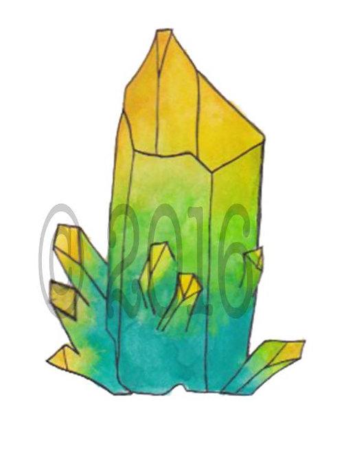 Yellow & Green Crystal Art Print