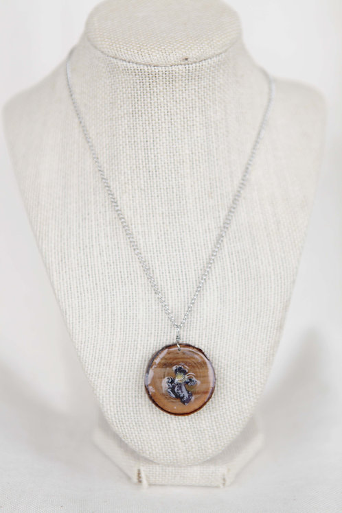 Real Pansy Flower on Wood Round Pendant Necklace