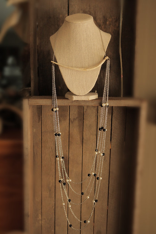Deer Rib Bone with China & Beads Necklace