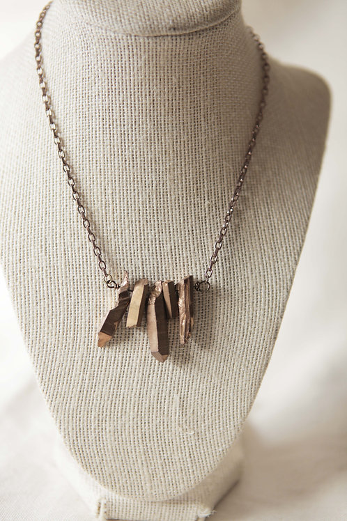 Multiple Copper infused Quartz Pendant Necklace