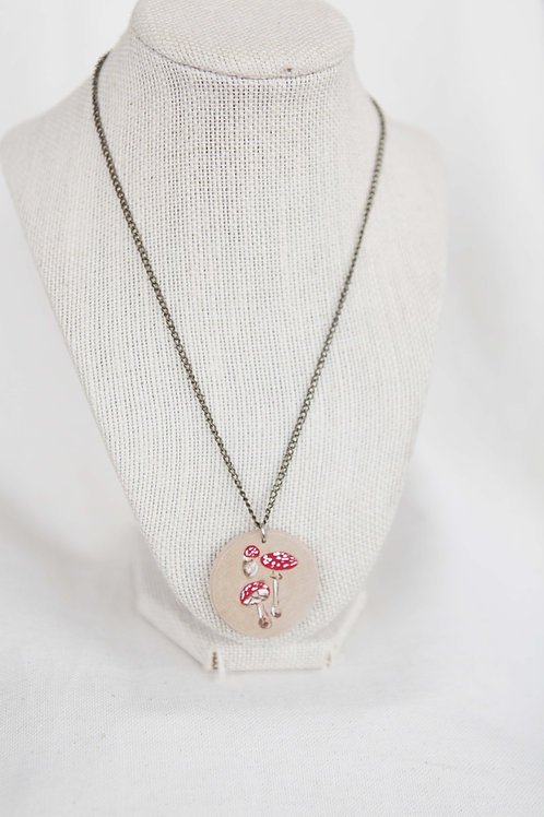 Tod Stool Print Wood Round Pendant Necklace