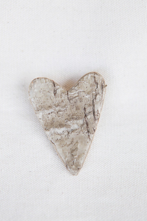 Hand Cut Birch Bark Heart Pin