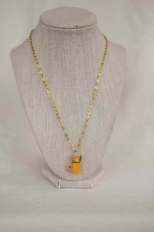 Golden Trumpet in Tiny Cup Necklace