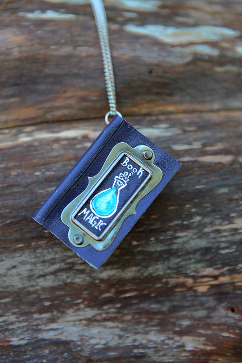 Miniature Book Necklace- Blue Potion Bottle