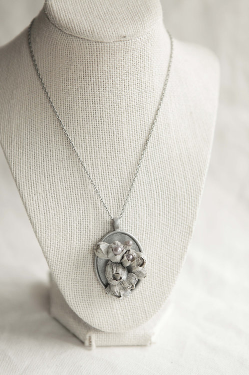 Real Barnacle & Purple Pearl Pendant Necklace