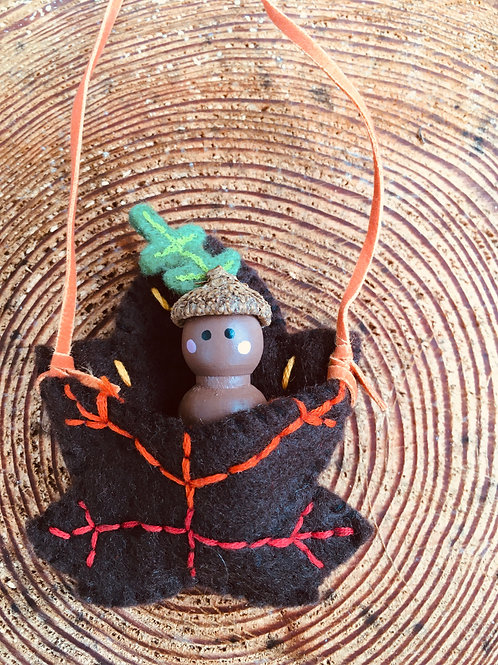 Acorn Spirit Doll- Maple Leaf Necklace