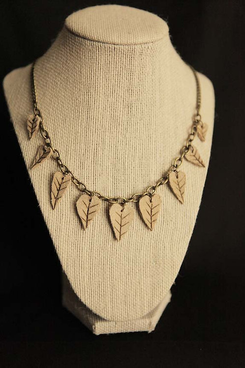 Leather Leaf Necklace (MADE TO ORDER)