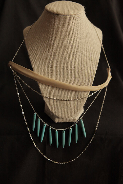 Deer Rib Bone & Turquoise Spike Necklace